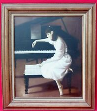 YOUNG LADY,WOMAN with GRAND PIANO SHEET MUSIC OIL PAINTING SIGNED DAVID PARAGOL