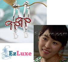 Korean Drama EAST OF EDEN Red Ribbon Ring Hoop Earrings circle round Rhinestone
