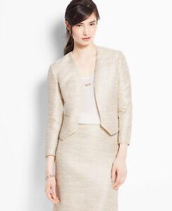 new Ann Taylor XL 14 Ivory Gold metallic tweed Blazer Work Jacket career Formal