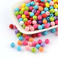 200pc Mixed Color Acrylic Jewelry Loose Round Beads Rainbow Children's Crafting