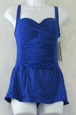 La Blanca Women's Twist-Front Ruched One-Piece Swimdress Swimsuit, Blue, 4