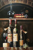 Vintage Wine Cellar Tasting Bottles Glass Large Oil On Canvas Painting STRETCHED