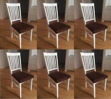 6 Esszimmerstühle Aus Eiche Massivholz Weiss Lackiert Mit Sitzbezug    Classico 2