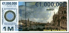 "PREFIX ""A"" POLYMER 1 MILLION (1000000) EURO 2015 VENICE GREECE FANTASY ART NOTE!"