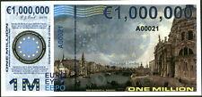 "PREFIX ""A"" POLYMER 1 MILLION (1000000) EURO 2015 VENICE GREECE FANTASY ART NOTE!"