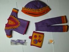 """11"""" artisan made blythe sized clothing 60's purple fashion suit w/ boots outfit"""