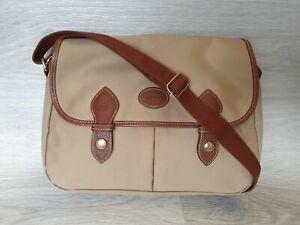 Vintage Authentic Longchamp Messenger Bag Two Pockets Beige Brown Unisex