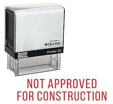 NOT APPROVED FOR CONSTRUCTION Office Self Inking Rubber Stamp - Red Ink (E-5753)