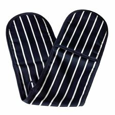 Navy & White Butcher Stripe Double Oven Glove 100% Cotton Insulated Home Kitchen