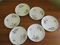 6 PRETTY VINTAGE CHINA SAUCERS 'WILD FLOWERS' DESIGN EXCELLENT CONDITION