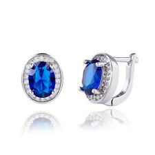 Elegant Office Lady Stud Earrings Real White Gold Filled Oval Cubic Zircon