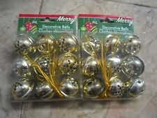 New ! 2 X 9 Counts Christmas Holiday Decorative Bells Gold Color
