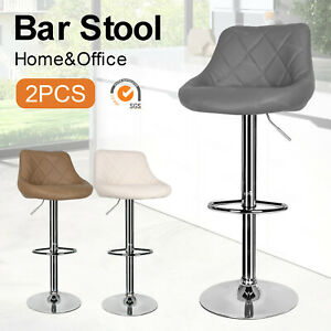 2 x Pub Chair Modern Faux PU Leather Breakfast Chairs Kitchen Bar Stools Padded