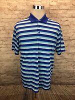 Nike Golf Standard Fit Dri Fit Blue Striped Mens Short Sleeve Polo Shirt Large