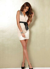 Lipsy Size 10 Grecian Wiggle Dress Party Black & Cream Ivory Wedding Occasion