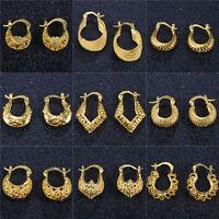 18K Gold Filled Ear Stud Hoop Earrings for Women Wedding Jewelry Elegant Gold