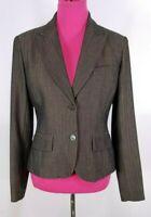 Michael Kors Blazer Size 6 Women's Brown Black Herringbone Lined Pockets