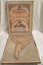Elsick's Dissected Jigsaw Map of South America, Original Box 1880s, Philip