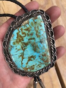 Signed RS Bolo Tie Royston Turquoise Sterling Silver Navajo Native American 102g