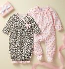 Mud Pie E1 Baby Girl Watch Me Grow Leopard Gown  Sleeper Gift 2pc Set 10190215