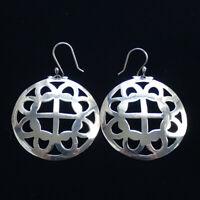 Vintage 925 Sterling Silver Hoop Pierced Dangle Earrings Celtic Knot