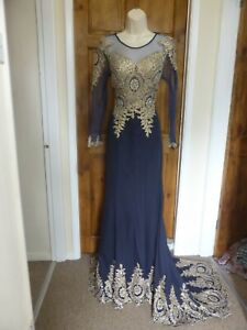 Pretty navy blue and gold trumpet train evening dress from Babyonline size 10