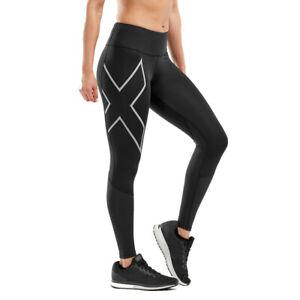 2XU Womens Run Mid-Rise Dash Tights Bottoms Pants Trousers Black Sports Running