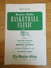 Globe BOSTON CELTICS Basketball Clinic RED AUERBACH December 23, 1961 Program