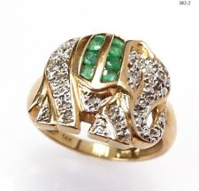 Ring Statement Tier Elefant Smaragd Damen - 585 Gold Gelbgold - 382-2