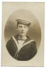 Studio Portrait of Sailor Wearing HMS Pembroke Cap Tally RP PPC