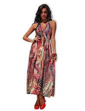 Ladies XXL Pink Leopard Print Beach Boho Maxi Dress Long Gypsy Halter Sundress