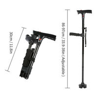 Folding Cane LED Lights Walking Stick 4 Head Pivoting Trusty Base Black bt