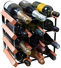 12 Bottle Wine Rack Storage Holder - Fully Assembled - Dark Wood