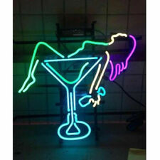 """Lady Cocktail Neon Light Sign Lamp 19"""" Beer Bar Glass Decor Gift Real Signs"""