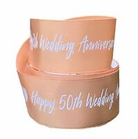 Happy Gold 50th Wedding Anniversary Gift Wrap Cake Ribbon 2M X 22MM love heart