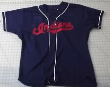 Vintage 90's Cleveland Indians Replica Jersey Sizee 52  Blue Russell Athletics