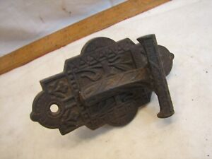 Antique Eastlake Cast Iron Door Handle Latch Pull Ornate Hardware