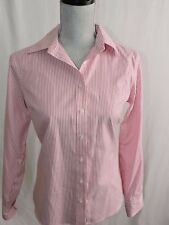 No Iron Pinpoint Oxford Lands End Button Down Shirt Top Career Work Blouse 8P