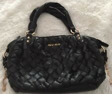 AUTH MIU MIU Black Woven Leather Gold Tone Hardware Double Strap Handbag