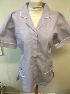 Lilac Stripe White Trim Tunics Nurse , Vets , Care Assistant , Beauticians