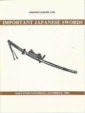 COLEMAN & QUIRT Important Japanese Swords Auction Catalog 1983