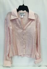 Women's Ronni Nicole Blouse Pink Size M Button Up Long Sleeves, NWT