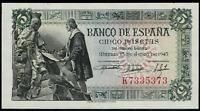 Billete de España 5 pesetas 1945 Colon K7335373 Sin circular Presenta un punto