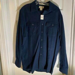 LL Bean Men's Medium Navy Blue Chamois Shirt