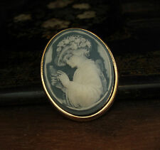 Vintage Pale Blue Lady Cameo Large Brooch 22ct Gold Plated