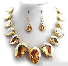 """17"""" Adjustable Brown Glass Teardrop Necklace and Earrings in Gold Tone Setting"""