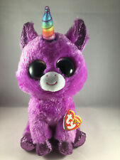 "2019 TY Beanie Boos 9"" Medium ROSETTE Purple Unicorn Animal Plush w/ Heart Tags"