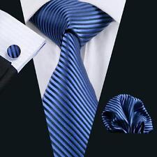 SN-652 men's Blue Stripes Silk Tie 100% Jacquard Woven Silk Neckties