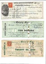 1860s $10 + $20 + $300 QUINCY MINE, Michigan, Copper Mining Scrip Set