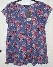 BNWT Dorothy Perkins Blue Pink Sequin Flower Short Sleeve Cotton Top - 14